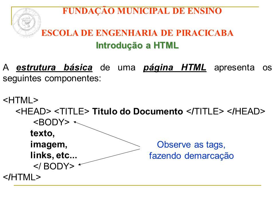 FUNDAÇÃO MUNICIPAL DE ENSINO ESCOLA DE ENGENHARIA DE PIRACICABA Introdução a HTML A estrutura básica de uma página HTML apresenta os seguintes compone