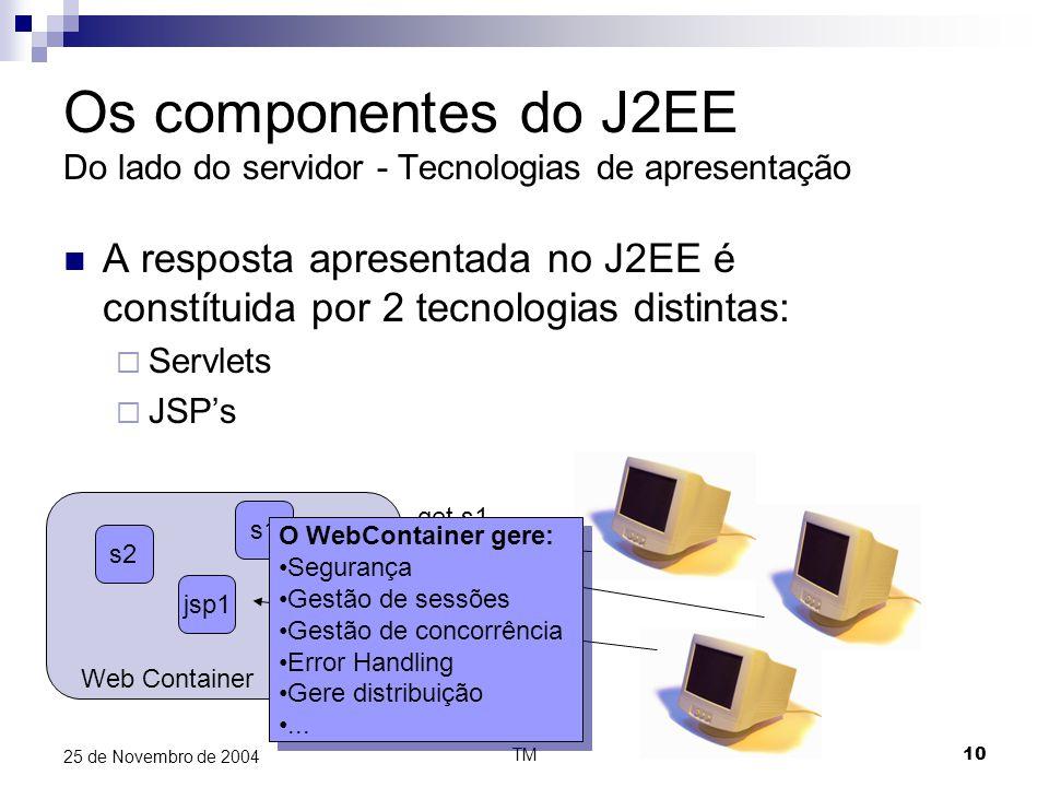 TM10 25 de Novembro de 2004 Os componentes do J2EE Do lado do servidor - Tecnologias de apresentação A resposta apresentada no J2EE é constítuida por 2 tecnologias distintas:  Servlets  JSP's Web Container s1 jsp1 s2 get s1 get jsp1 O WebContainer gere: Segurança Gestão de sessões Gestão de concorrência Error Handling Gere distribuição...