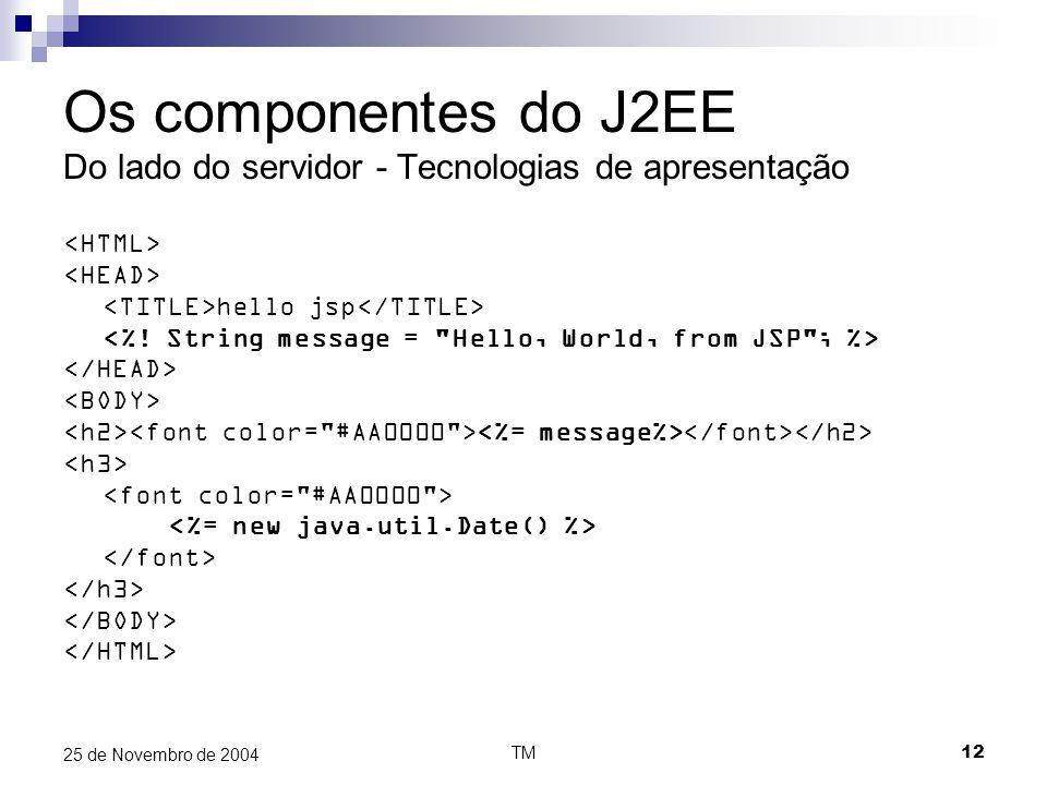TM12 25 de Novembro de 2004 Os componentes do J2EE Do lado do servidor - Tecnologias de apresentação hello jsp