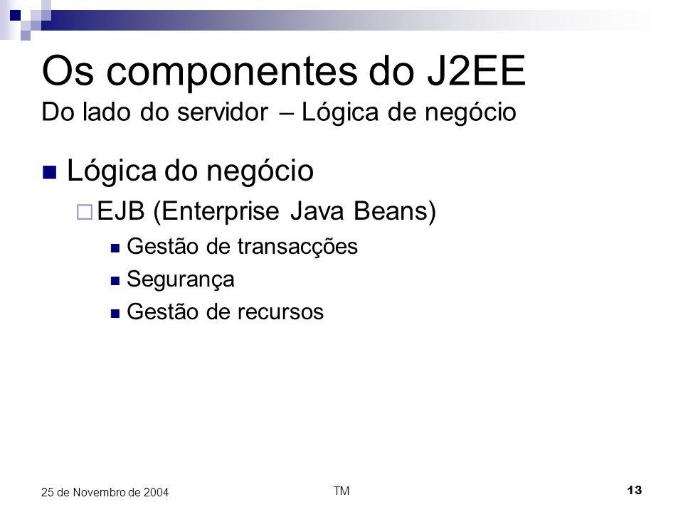 TM13 25 de Novembro de 2004 Os componentes do J2EE Do lado do servidor – Lógica de negócio Lógica do negócio  EJB (Enterprise Java Beans) Gestão de t