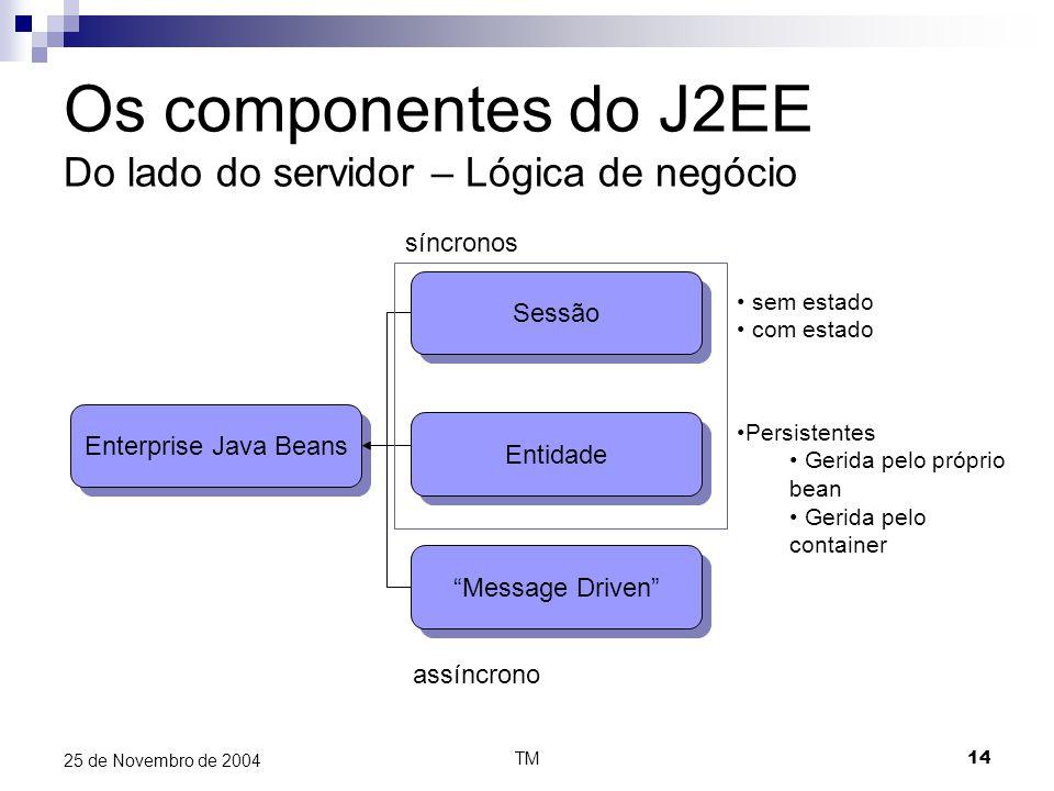 """TM14 25 de Novembro de 2004 Os componentes do J2EE Do lado do servidor – Lógica de negócio Enterprise Java Beans Sessão Entidade """"Message Driven"""" sem"""