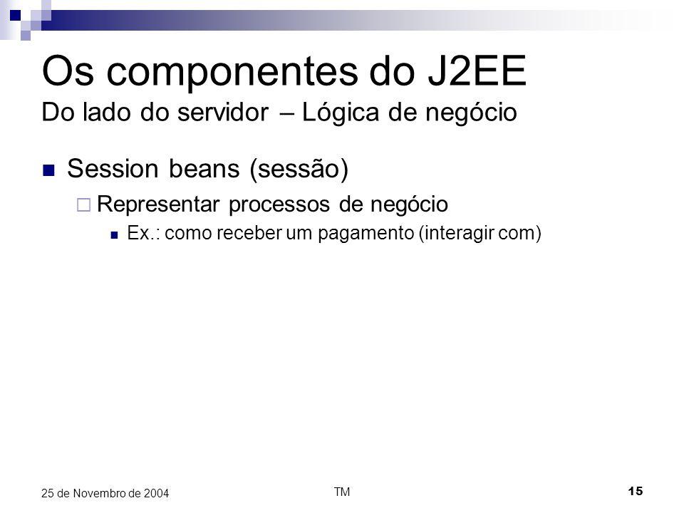 TM15 25 de Novembro de 2004 Os componentes do J2EE Do lado do servidor – Lógica de negócio Session beans (sessão)  Representar processos de negócio Ex.: como receber um pagamento (interagir com)