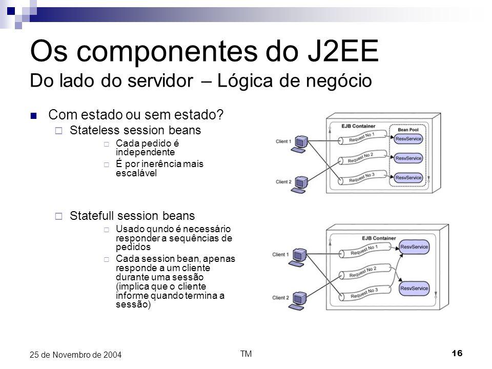 TM16 25 de Novembro de 2004 Os componentes do J2EE Do lado do servidor – Lógica de negócio Com estado ou sem estado?  Stateless session beans  Cada