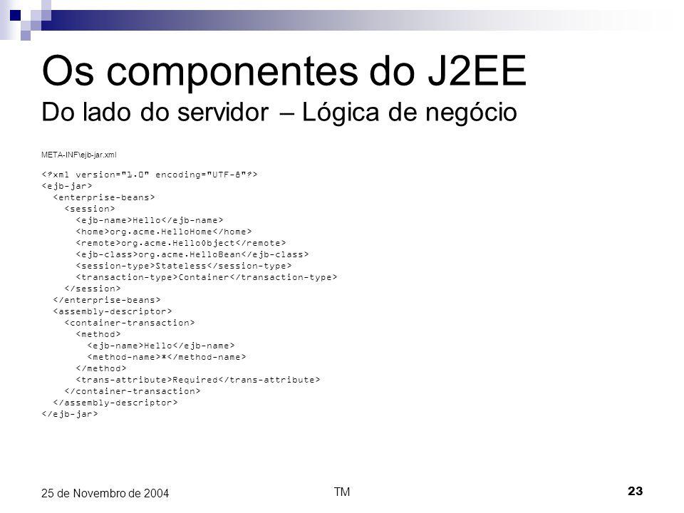 TM23 25 de Novembro de 2004 Os componentes do J2EE Do lado do servidor – Lógica de negócio META-INF\ejb-jar.xml Hello org.acme.HelloHome org.acme.Hell