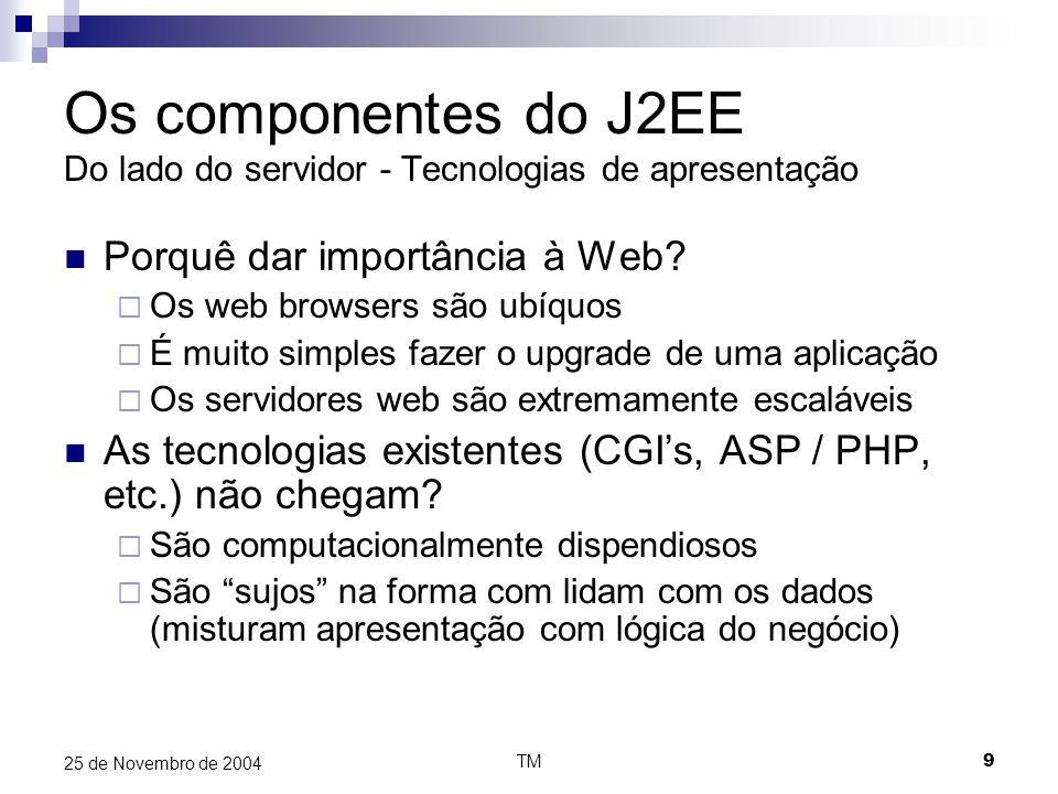 TM30 25 de Novembro de 2004 J2EE, Integração WebServices Processador de XML via SAX ou DOM Composição e Parsing de mensagens SOAP Interface com o sistema UDDI (publicar e pesquisar webservices) Compile time utilities Cria os stubs usados pelos webservices