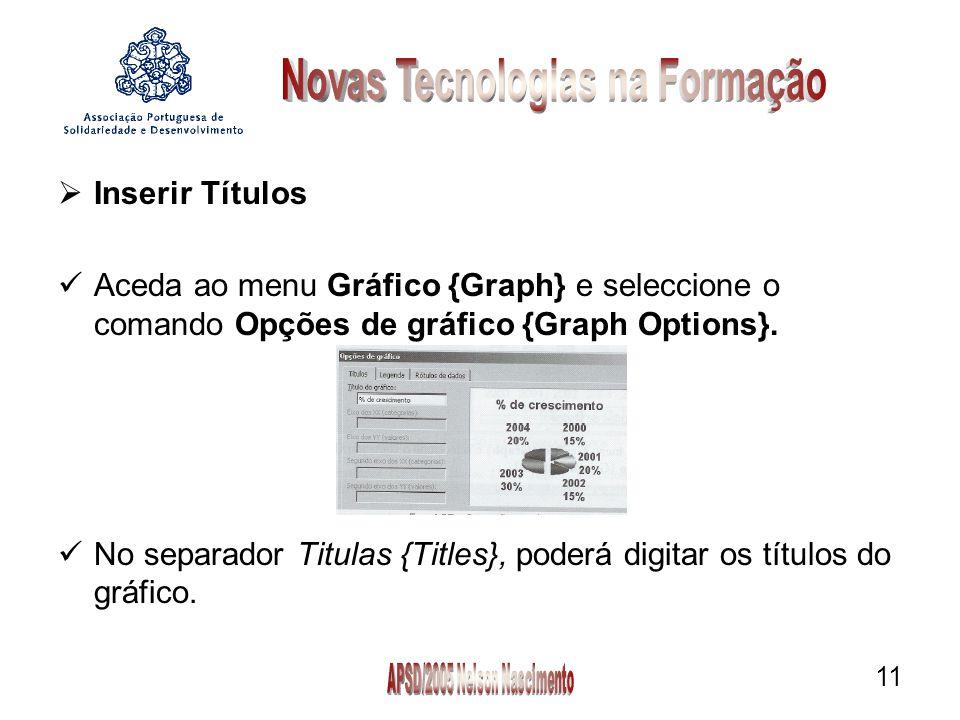 11  Inserir Títulos Aceda ao menu Gráfico {Graph} e seleccione o comando Opções de gráfico {Graph Options}.