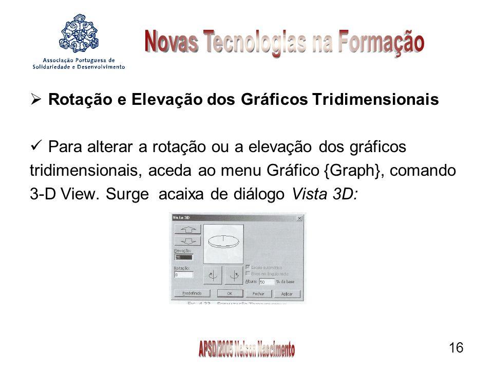 16  Rotação e Elevação dos Gráficos Tridimensionais Para alterar a rotação ou a elevação dos gráficos tridimensionais, aceda ao menu Gráfico {Graph}, comando 3-D View.