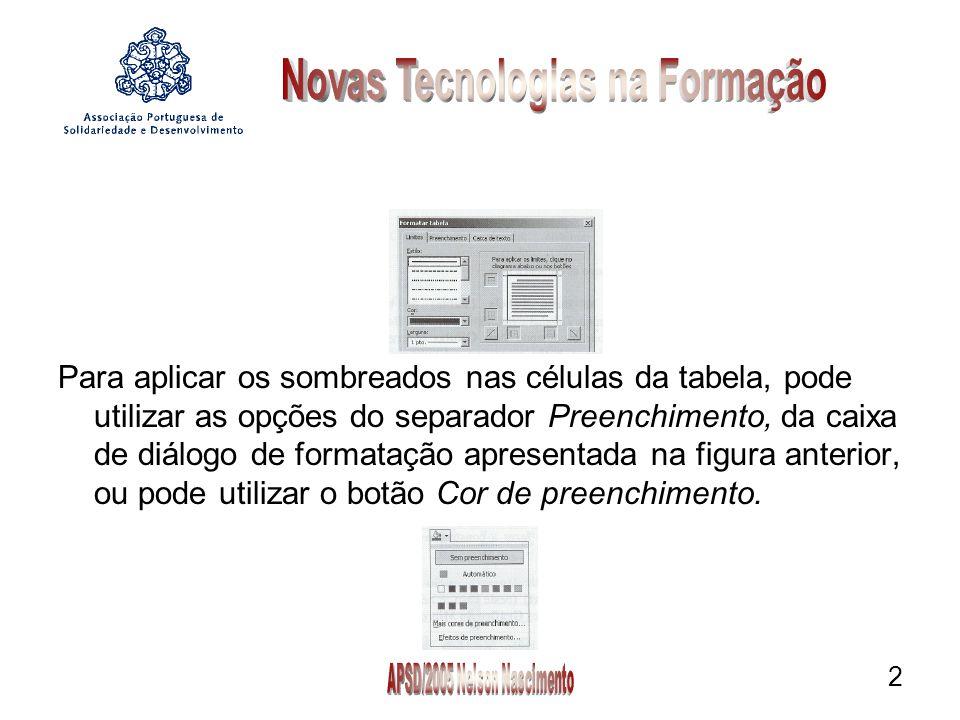 2 Para aplicar os sombreados nas células da tabela, pode utilizar as opções do separador Preenchimento, da caixa de diálogo de formatação apresentada na figura anterior, ou pode utilizar o botão Cor de preenchimento.
