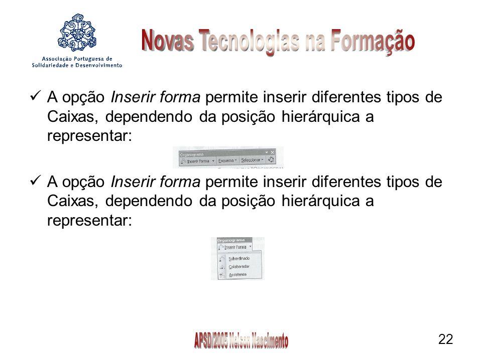 22 A opção Inserir forma permite inserir diferentes tipos de Caixas, dependendo da posição hierárquica a representar: