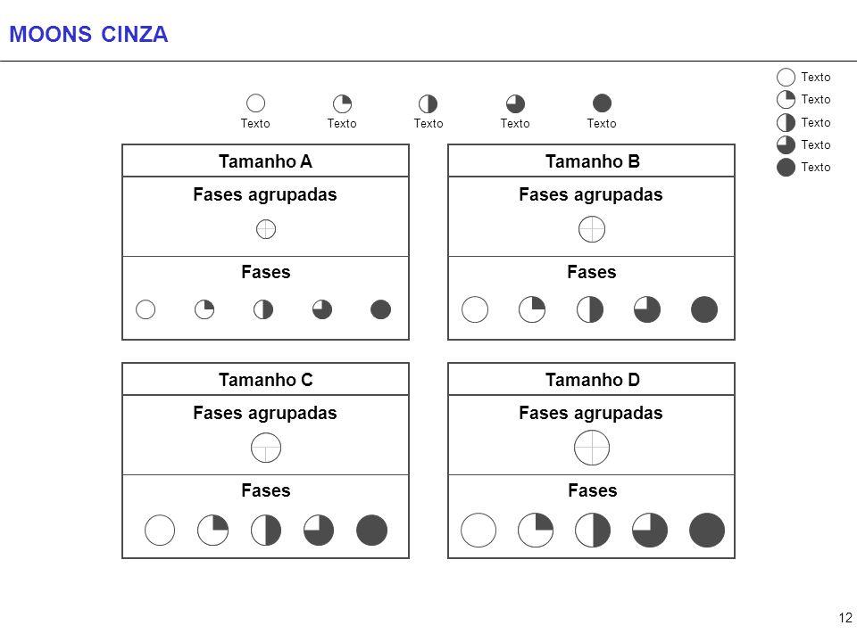 12 MOONS CINZA Texto Fases Fases agrupadas Tamanho D Tamanho B Fases agrupadas Fases Tamanho A Fases agrupadas Fases Tamanho C Fases agrupadas Fases T