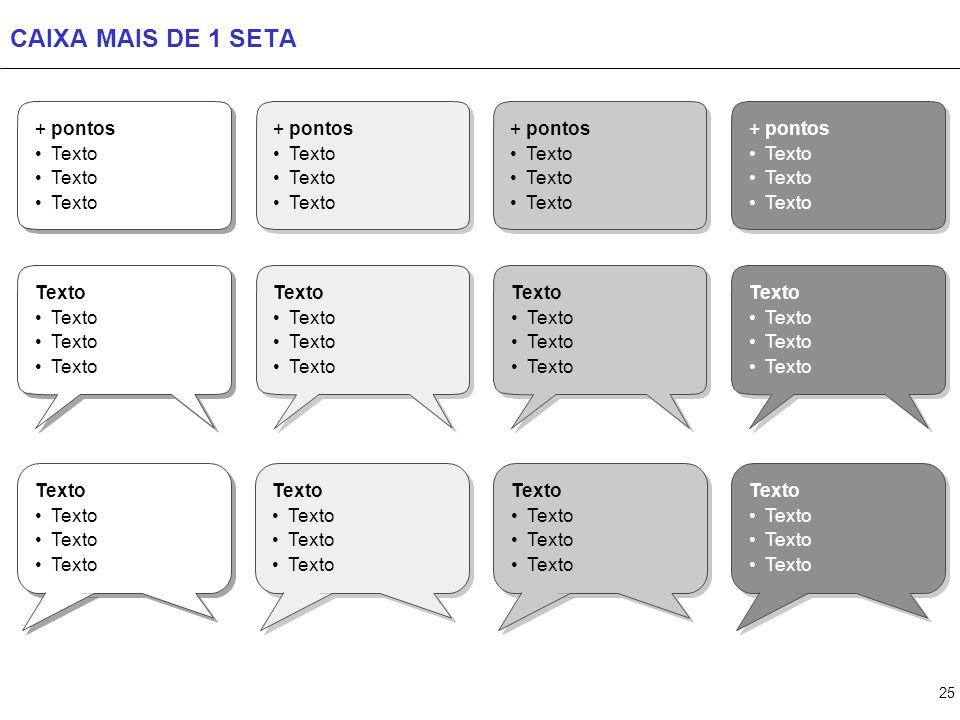 25 CAIXA MAIS DE 1 SETA + pontos Texto + pontos Texto + pontos Texto + pontos Texto