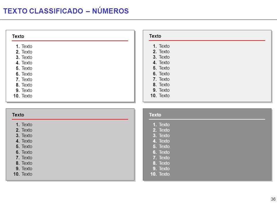 36 TEXTO CLASSIFICADO – NÚMEROS Texto 1. 2. 3. 4. 5. 6. 7. 8. 9. 10. Texto 1. 2. 3. 4. 5. 6. 7. 8. 9. 10. Texto 1. 2. 3. 4. 5. 6. 7. 8. 9. 10. Texto 1