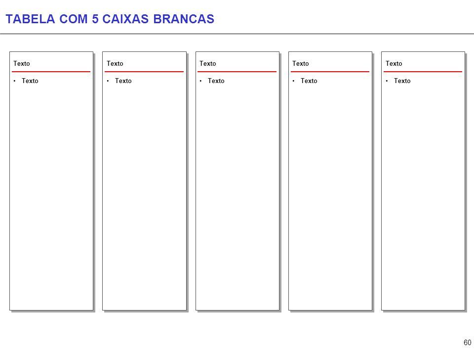 60 TABELA COM 5 CAIXAS BRANCAS Texto