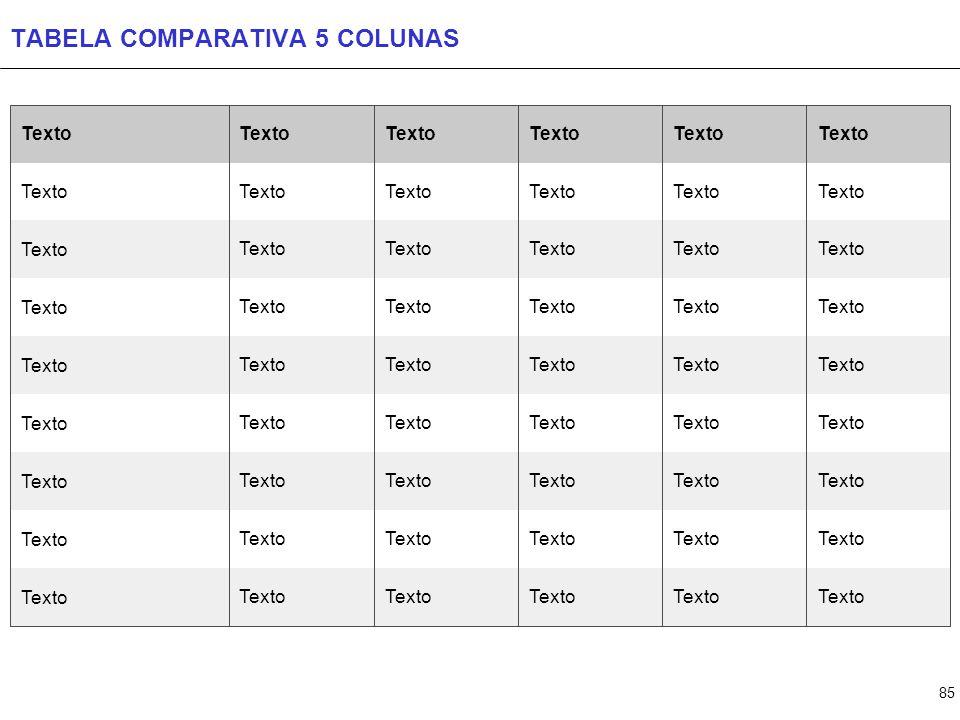 85 TABELA COMPARATIVA 5 COLUNAS Texto