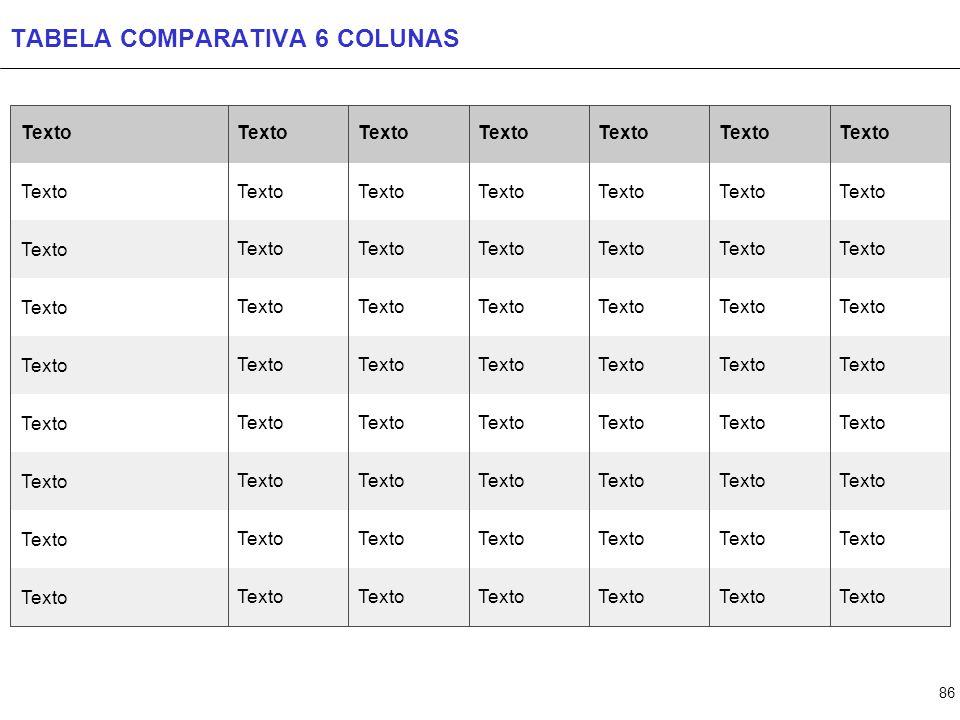 86 TABELA COMPARATIVA 6 COLUNAS Texto