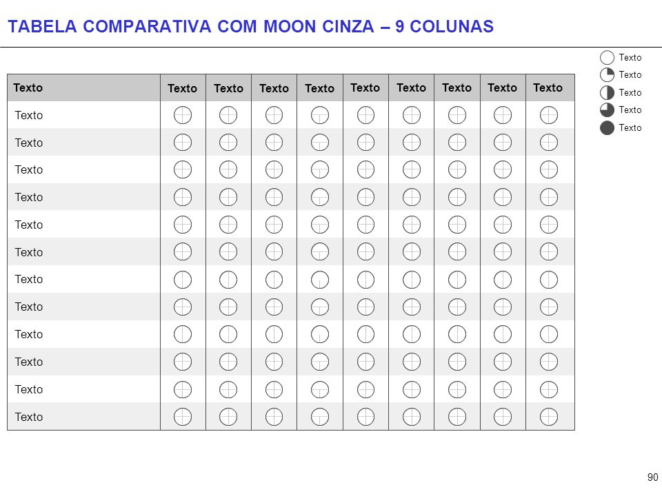 90 TABELA COMPARATIVA COM MOON CINZA – 9 COLUNAS Texto