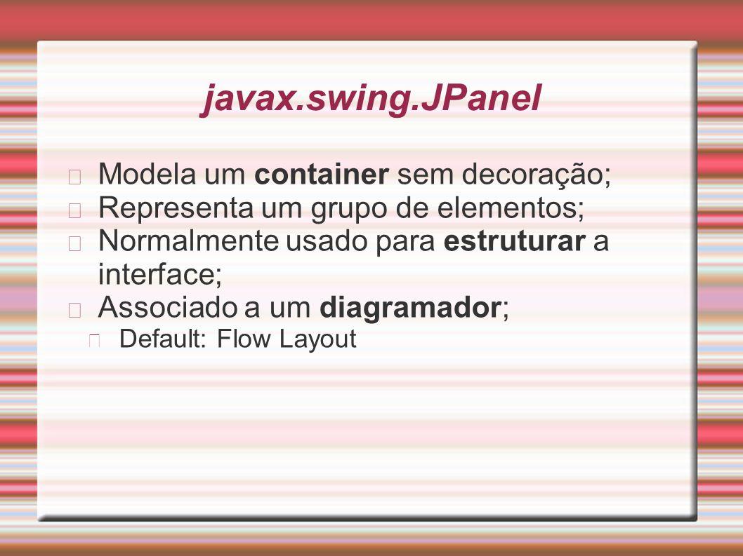 javax.swing.JPanel Modela um container sem decoração; Representa um grupo de elementos; Normalmente usado para estruturar a interface; Associado a um