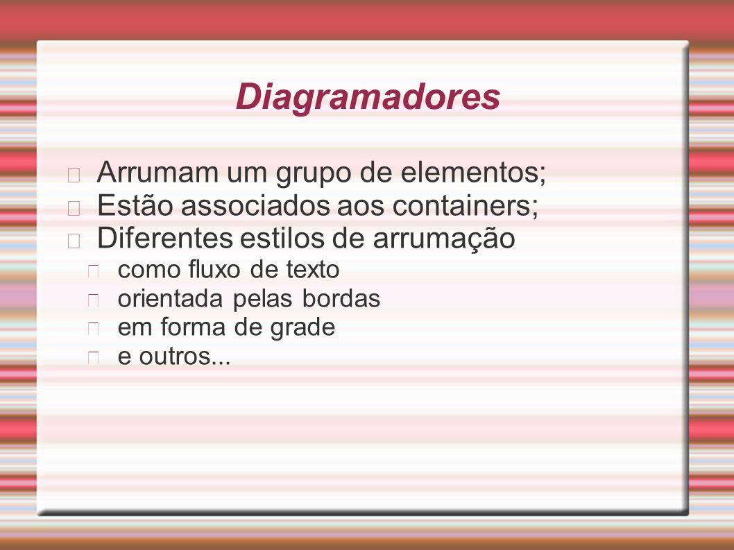 Diagramadores Arrumam um grupo de elementos; Estão associados aos containers; Diferentes estilos de arrumação como fluxo de texto orientada pelas bord