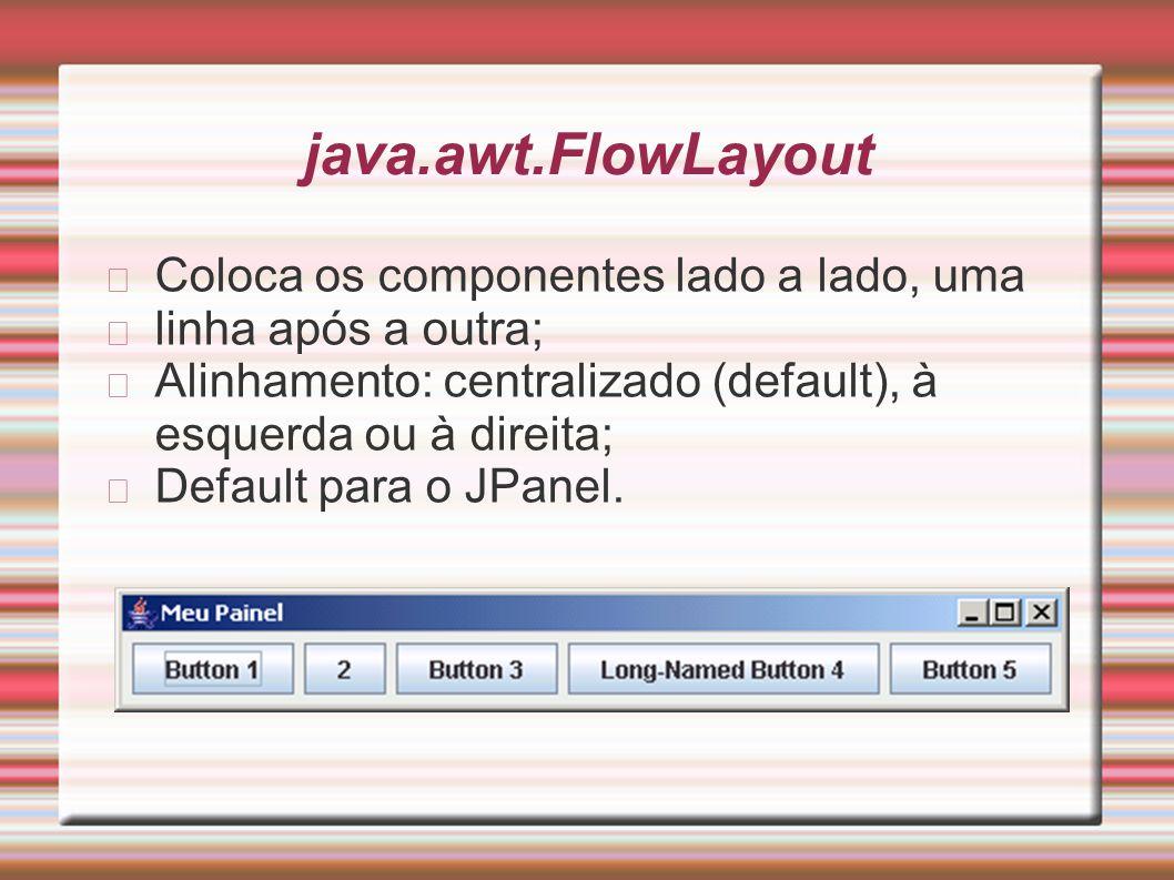 java.awt.FlowLayout Coloca os componentes lado a lado, uma linha após a outra; Alinhamento: centralizado (default), à esquerda ou à direita; Default p