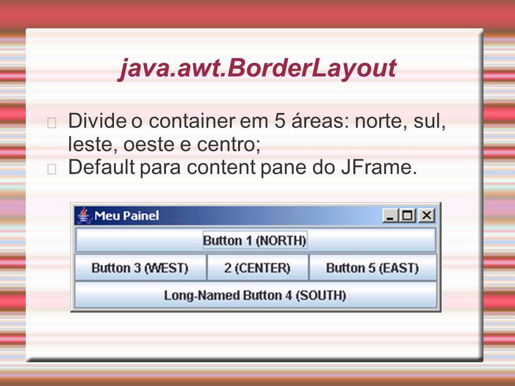java.awt.BorderLayout Divide o container em 5 áreas: norte, sul, leste, oeste e centro; Default para content pane do JFrame.