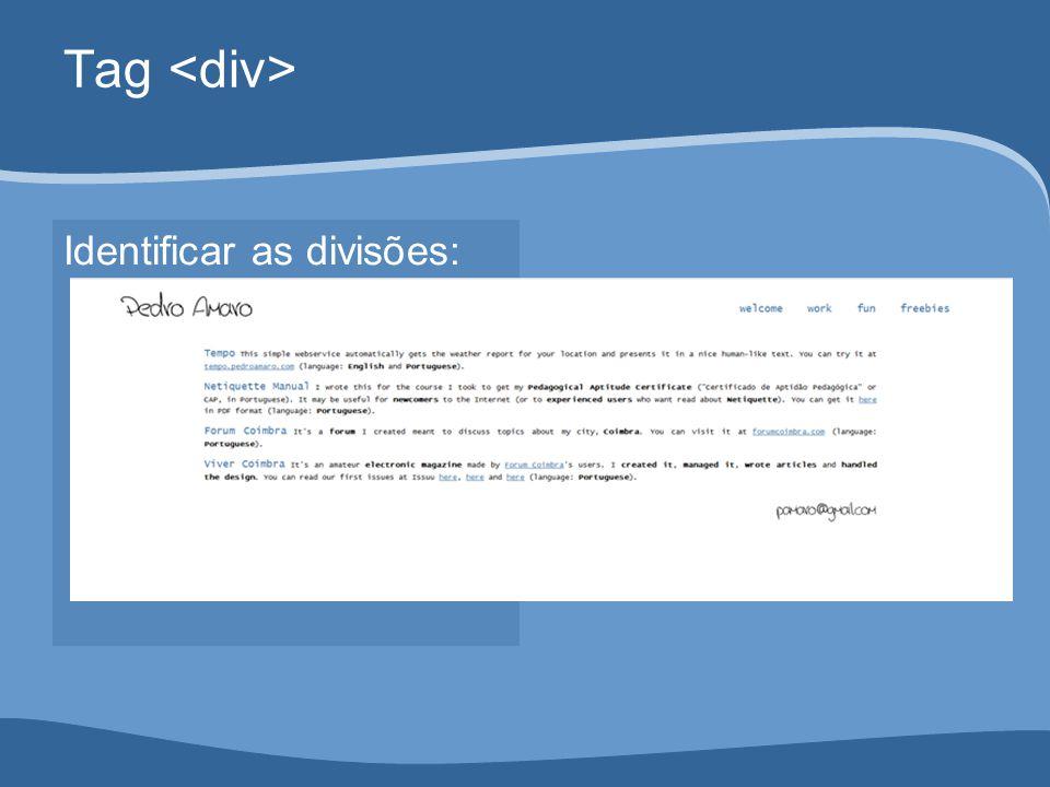 Tag Identificar as divisões: