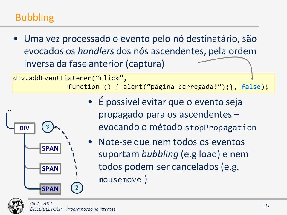 2007 - 2011 ©ISEL/DEETC/SP – Programação na Internet 35 Bubbling Uma vez processado o evento pelo nó destinatário, são evocados os handlers dos nós ascendentes, pela ordem inversa da fase anterior (captura) div.addEventListener( click , function () { alert( página carregada! );}, false); É possível evitar que o evento seja propagado para os ascendentes – evocando o método stopPropagation Note-se que nem todos os eventos suportam bubbling (e.g load) e nem todos podem ser cancelados (e.g.