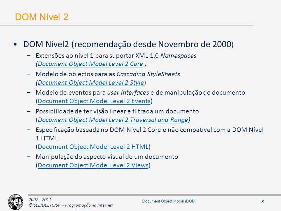 2007 - 2011 ©ISEL/DEETC/SP – Programação na Internet 29 Document Object Model (DOM) Interfaces para outros elementos do HTML Node Element HTMLElement HTMLHtmlElement HTMLHeadElement HTMLTitleElement HTMLMetaElement HTMLBaseElementHTMLStyleElement HTMLBodyElement HTMLFormElement HTMLLinkElement