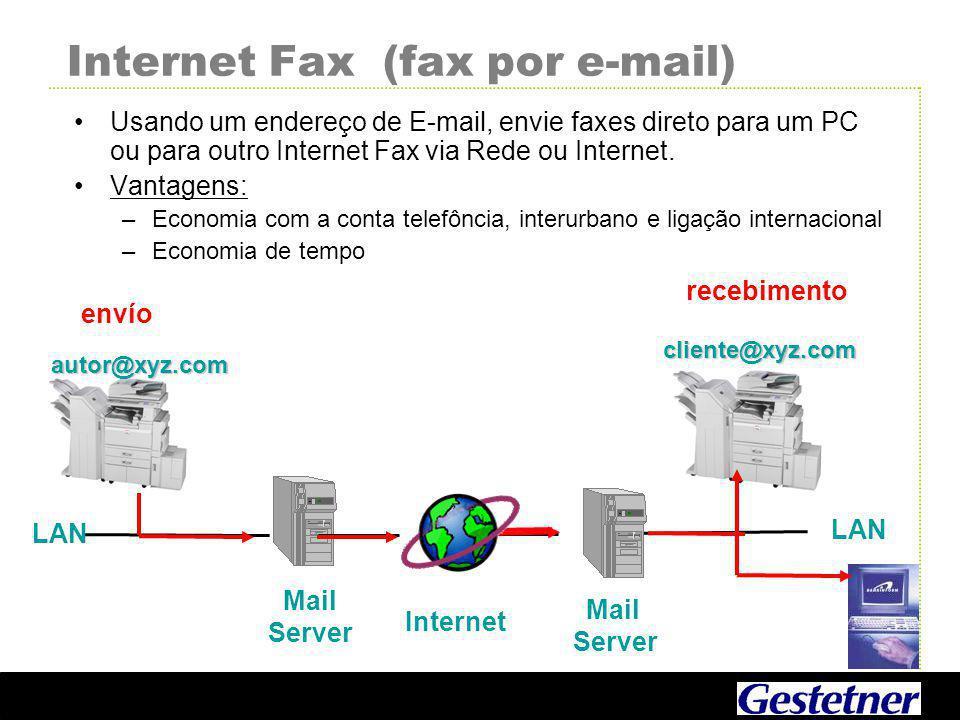 Internet Fax (fax por e-mail) Usando um endereço de E-mail, envie faxes direto para um PC ou para outro Internet Fax via Rede ou Internet.