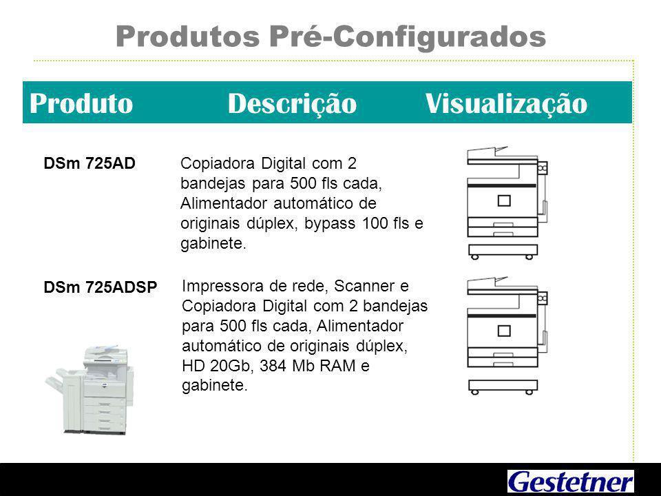 Produtos Pré-Configurados ProdutoDescriçãoVisualização DSm 725ADCopiadora Digital com 2 bandejas para 500 fls cada, Alimentador automático de originais dúplex, bypass 100 fls e gabinete.