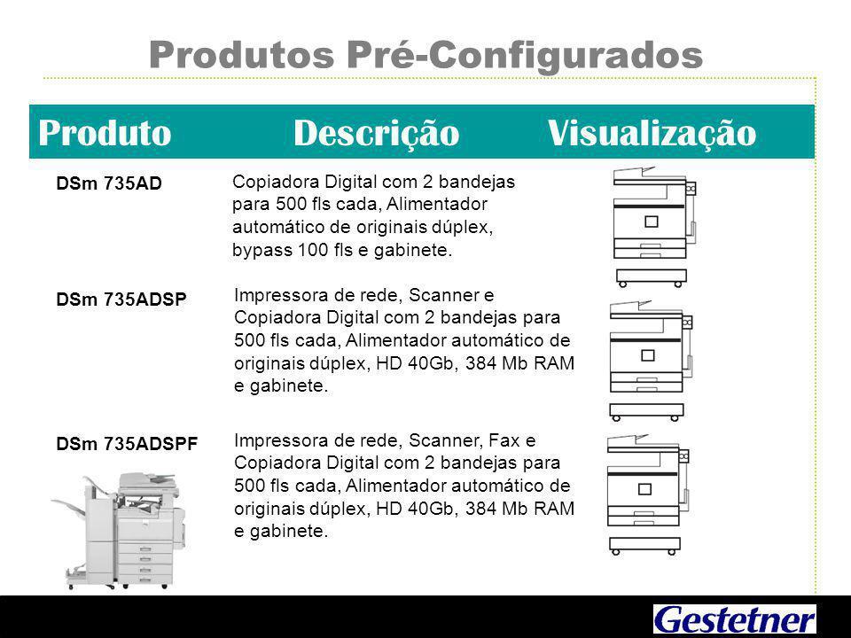 Produtos Pré-Configurados ProdutoDescriçãoVisualização DSm 735AD Copiadora Digital com 2 bandejas para 500 fls cada, Alimentador automático de originais dúplex, bypass 100 fls e gabinete.