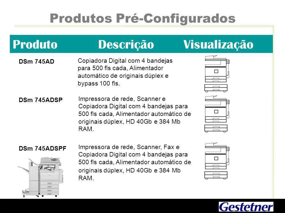 Produtos Pré-Configurados ProdutoDescriçãoVisualização DSm 745AD Copiadora Digital com 4 bandejas para 500 fls cada, Alimentador automático de originais dúplex e bypass 100 fls.