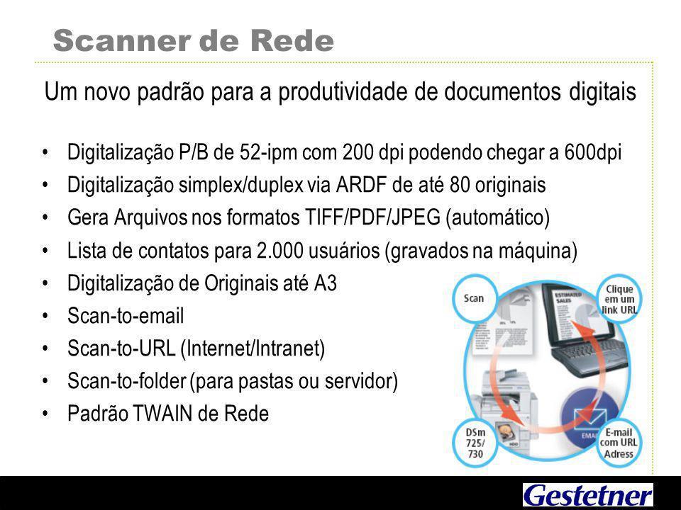 Scanner de Rede Digitalização P/B de 52-ipm com 200 dpi podendo chegar a 600dpi Digitalização simplex/duplex via ARDF de até 80 originais Gera Arquivos nos formatos TIFF/PDF/JPEG (automático) Lista de contatos para 2.000 usuários (gravados na máquina) Digitalização de Originais até A3 Scan-to-email Scan-to-URL (Internet/Intranet) Scan-to-folder (para pastas ou servidor) Padrão TWAIN de Rede Um novo padrão para a produtividade de documentos digitais