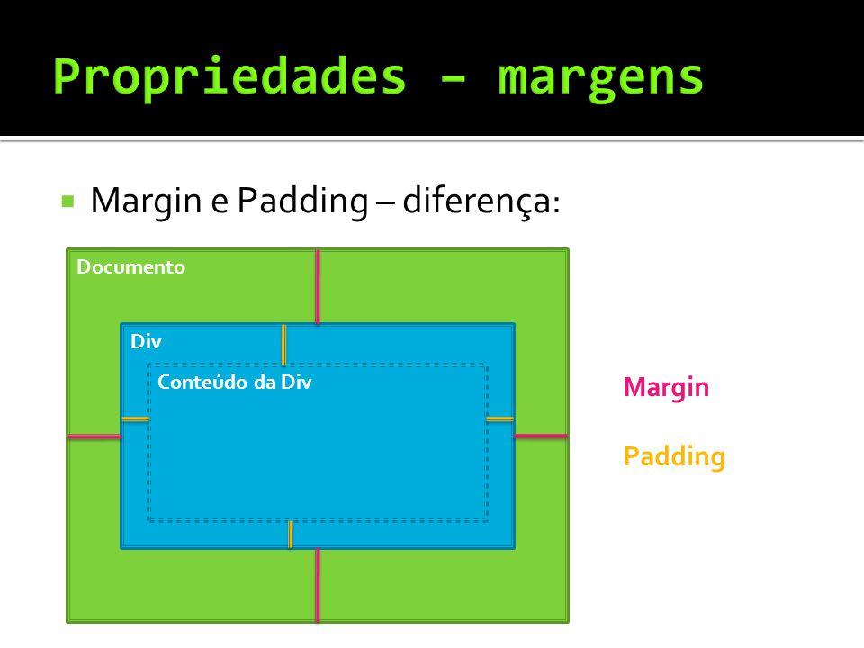  Margin e Padding – diferença: Documento Div Conteúdo da Div Margin Padding
