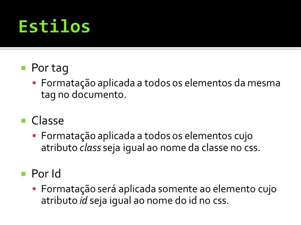  Por tag  Formatação aplicada a todos os elementos da mesma tag no documento.