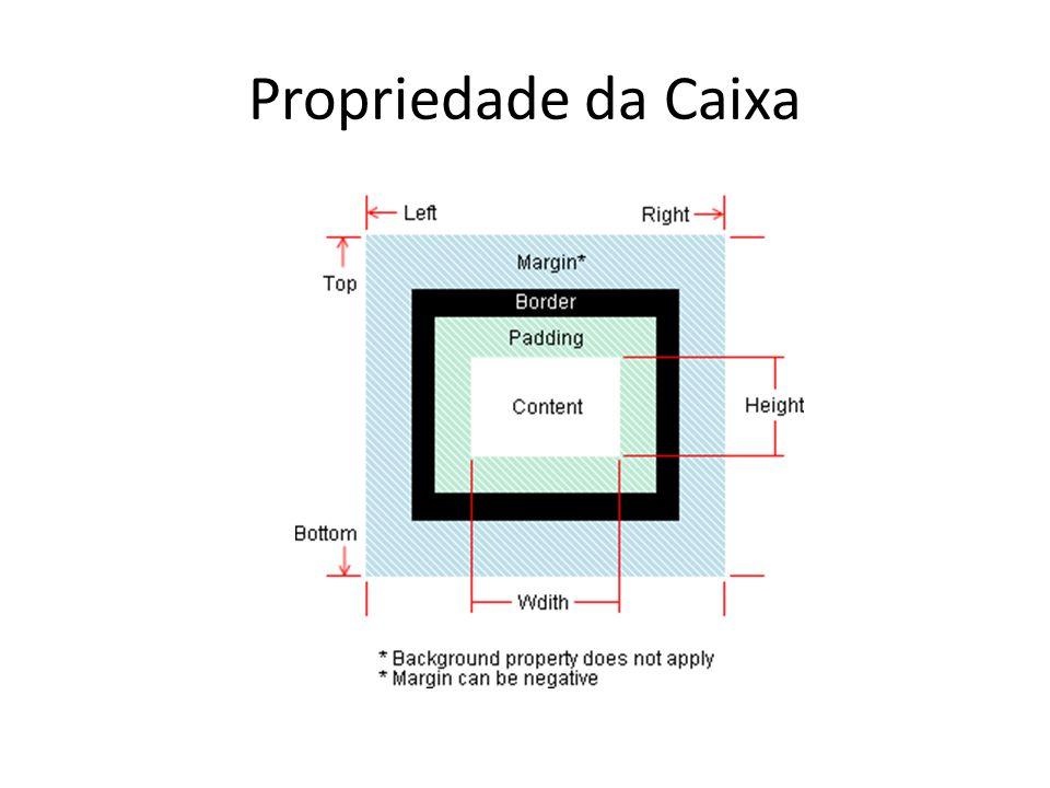 Propriedades da Caixa – Largura e altura Width Auto: automática Px: medida em pixel %: porcentagem Largura da caixa Height Auto: automática Px: medida em pixel %: porcentagem Altura da caixa width height