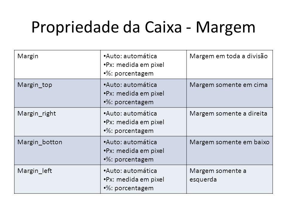 Propriedade da Caixa - Margem Margin Auto: automática Px: medida em pixel %: porcentagem Margem em toda a divisão Margin_top Auto: automática Px: medi