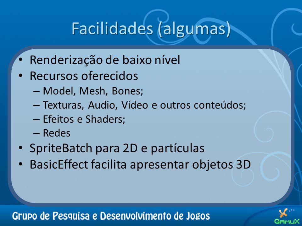 Facilidades (algumas) Renderização de baixo nível Recursos oferecidos – Model, Mesh, Bones; – Texturas, Audio, Vídeo e outros conteúdos; – Efeitos e Shaders; – Redes SpriteBatch para 2D e partículas BasicEffect facilita apresentar objetos 3D 13