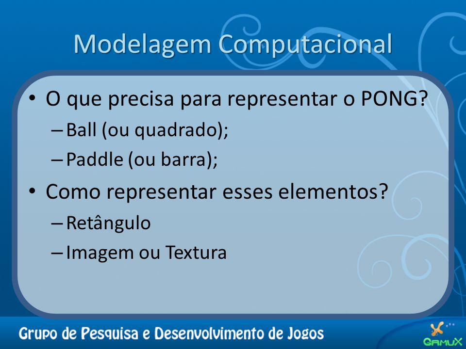 Modelagem Computacional O que precisa para representar o PONG.