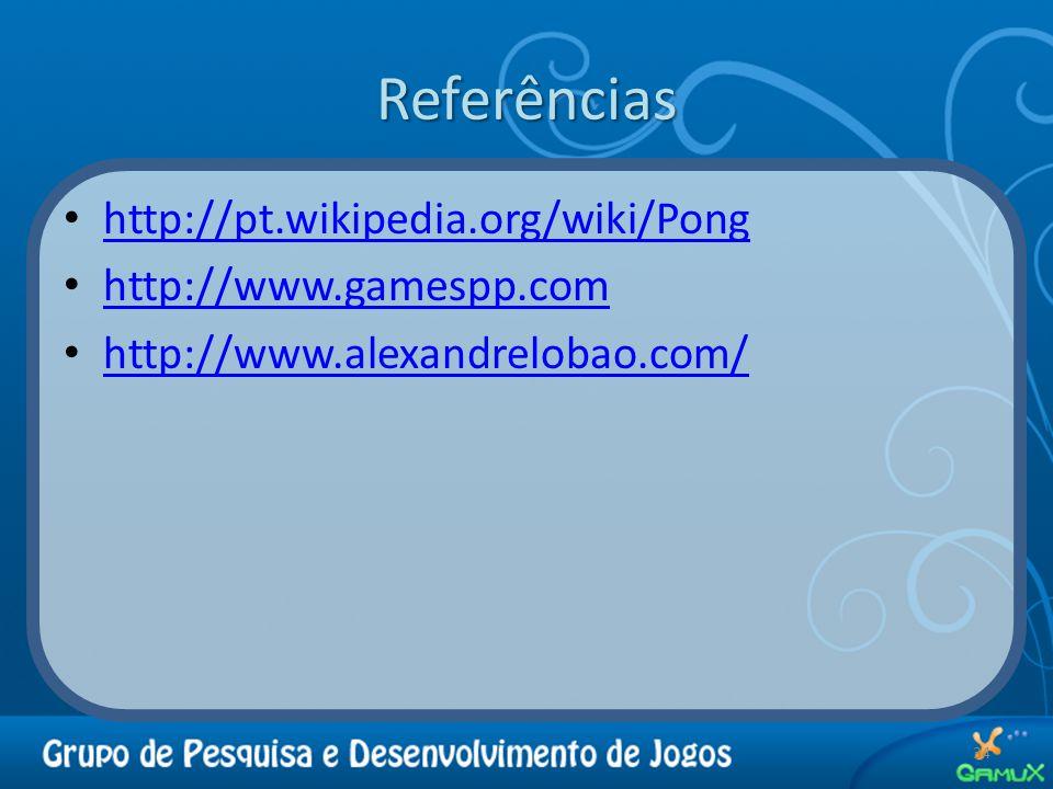 Referências http://pt.wikipedia.org/wiki/Pong http://www.gamespp.com http://www.alexandrelobao.com/ 34