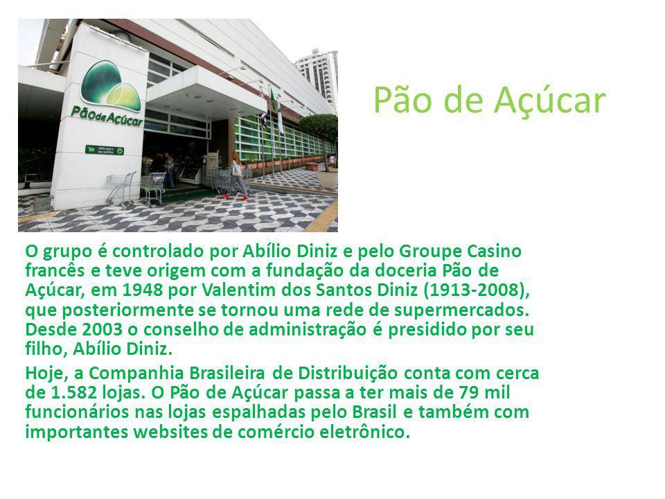 Pão de Açúcar O grupo é controlado por Abílio Diniz e pelo Groupe Casino francês e teve origem com a fundação da doceria Pão de Açúcar, em 1948 por Va