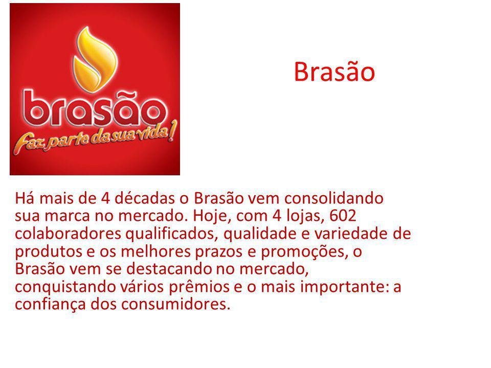 Brasão Há mais de 4 décadas o Brasão vem consolidando sua marca no mercado. Hoje, com 4 lojas, 602 colaboradores qualificados, qualidade e variedade d