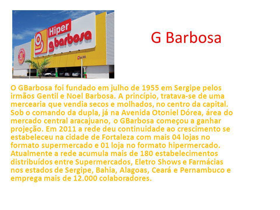 G Barbosa O GBarbosa foi fundado em julho de 1955 em Sergipe pelos irmãos Gentil e Noel Barbosa. A princípio, tratava-se de uma mercearia que vendia s