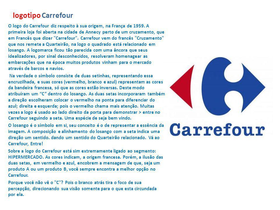 logotipo Carrefour O logo do Carrefour diz respeito à sua origem, na França de 1959. A primeira loja foi aberta na cidade de Annecy perto de um cruzam