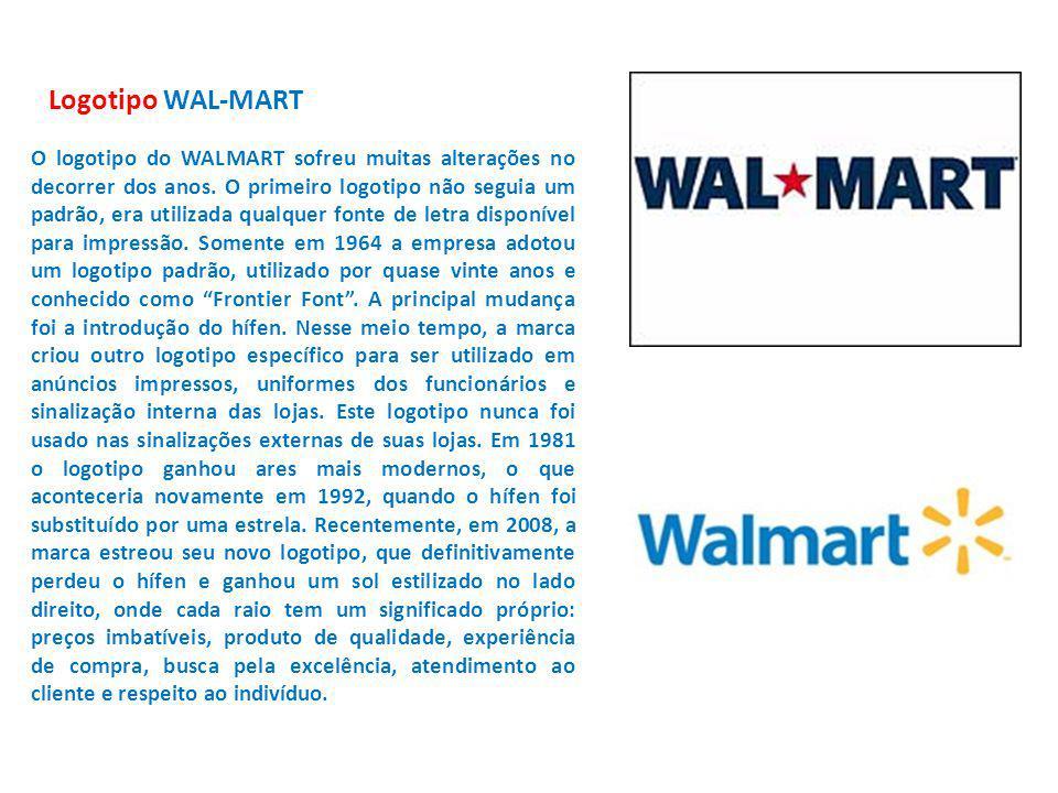 Logotipo WAL-MART O logotipo do WALMART sofreu muitas alterações no decorrer dos anos. O primeiro logotipo não seguia um padrão, era utilizada qualque