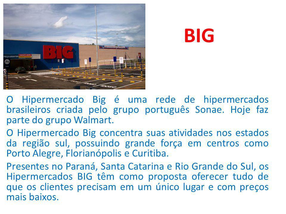 BIG O Hipermercado Big é uma rede de hipermercados brasileiros criada pelo grupo português Sonae. Hoje faz parte do grupo Walmart. O Hipermercado Big