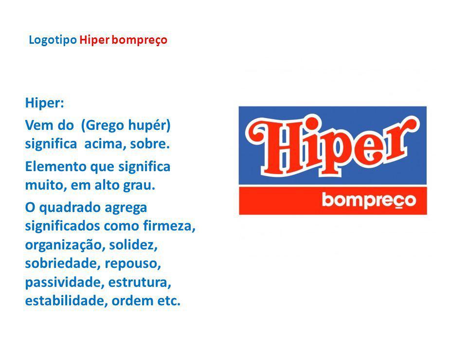 Logotipo Hiper bompreço Hiper: Vem do (Grego hupér) significa acima, sobre. Elemento que significa muito, em alto grau. O quadrado agrega significados
