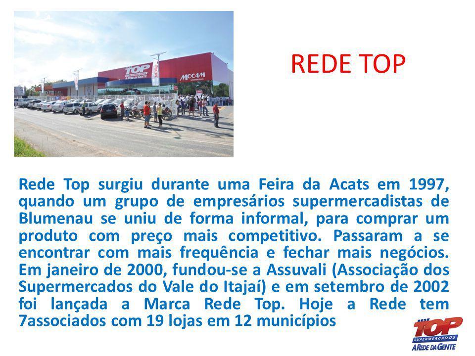 REDE TOP Rede Top surgiu durante uma Feira da Acats em 1997, quando um grupo de empresários supermercadistas de Blumenau se uniu de forma informal, pa