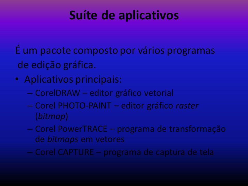 Suíte de aplicativos É um pacote composto por vários programas de edição gráfica. Aplicativos principais: – CorelDRAW – editor gráfico vetorial – Core