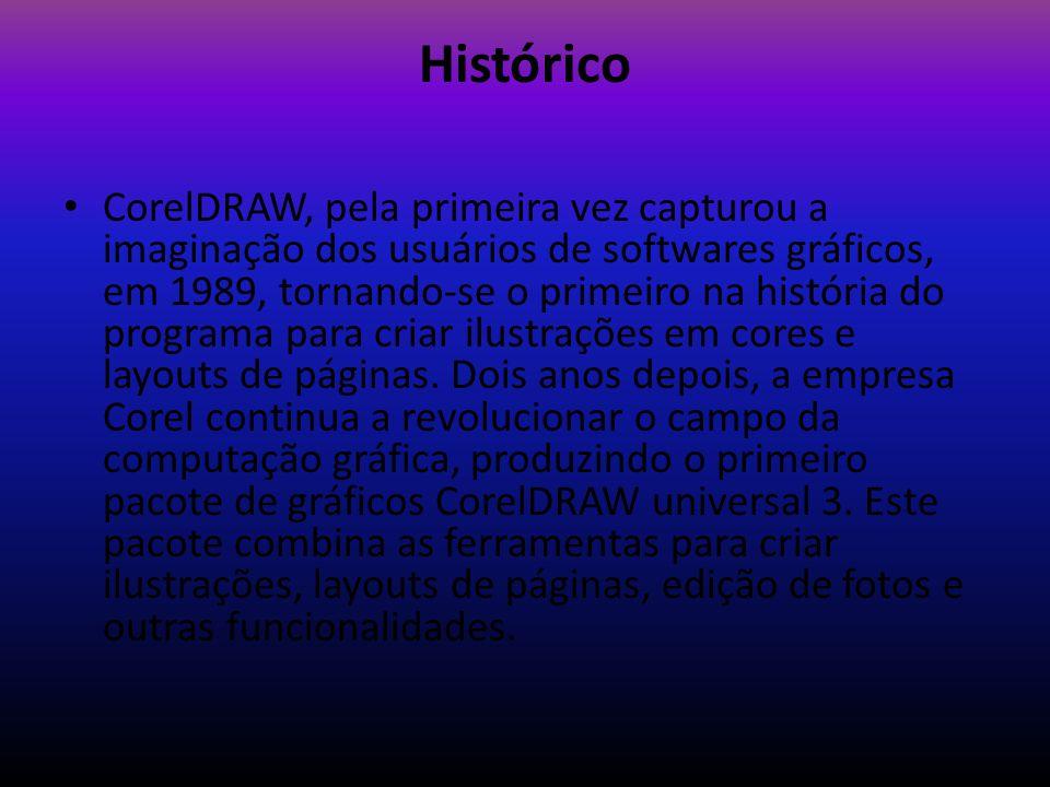 Histórico CorelDRAW, pela primeira vez capturou a imaginação dos usuários de softwares gráficos, em 1989, tornando-se o primeiro na história do progra