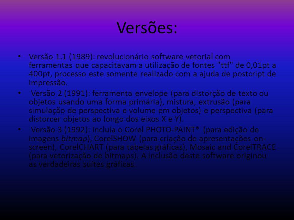 Versões: Versão 1.1 (1989): revolucionário software vetorial com ferramentas que capacitavam a utilização de fontes